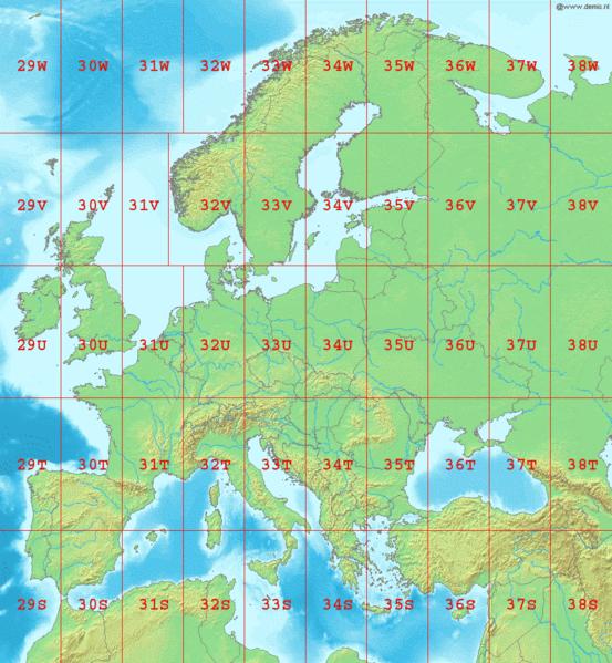UTM grid europa